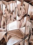 Spiegelungen 2, Stift, Tempera, 50 x 40 cm