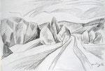 Weg, Stift, 40 x 50 cm
