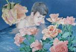 rose blossom bath, Ölfarbe und Eitempera a. Lw, 80 x 100 cm