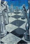 Schach 2, Pastell, Stift, 30 x 20 cm