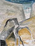 Kopfstand, Aquarell, 50 x 40 cm