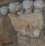 Handschuh, Stift, 80 x 80 cm