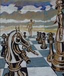 Schach 1, Tempera, Stift, 70 x 60 cm