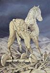 Trojanisches Pferd, Ölfarbe a. Lw, 100 x 70 cm