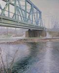 Wiesebrücke2, Ölfarbe a. Lw, 100 x 80 cm