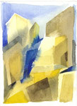 Sonnenhäuser, Aquarell, 20 x 20 cm