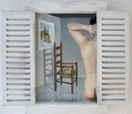 Einblick2, Ölfarbe auf Leinwand, Holzobjekt zum Aufklappen, 60 x 55 cm