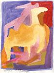 Kamele 1, Aquarell, 30 x 20 cm
