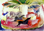 Karussell, Aquarell, 30 x 40 cm