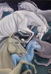 das blaue Pferd, Ölfarbe a. Lw. 100 x 70 cm