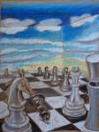 Schach 3, Pastell, 50 x 40 cm