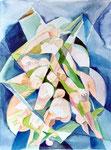 Geburt, Aquarell, 50 x 40 cm