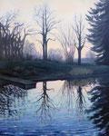 Sonnenuntergang im Winter, Öl, Arcyl, Eitempera a.Lw, 100 x 80 cm