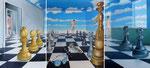 Schach, 3 teilig, 140 x 260 cm