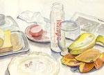 Frühstück, Stift, Aquarell 28 x 20 cm