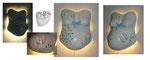 Bauchabdruck Standard S mit Bemalung, 3D Fußabdrücke und indirekten Licht