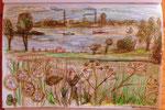 Insel Poel, aus meinem großen Inseltagebuch, Landszene, Blick nach Wismar