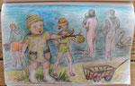 Strandszene, Kinder von der Mutter-Kind-Reha-Klinik