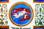 Schloß Charlottenburg (nach Schinkel und Schoppe), Tempera, Detail Mitte: Iris empfängt Amor vom Westwind