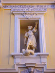 Particolare della Facciata, Statua di San Michele: Archangelorum Principi Devotus Populus (Ego te Protego)