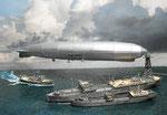 USS Patoka mit Luftschiff Los Angeles