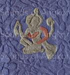 Vishnu frappant des mains ou jouant des cymbales. Colorisé.