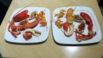 1/2 homard brochette de crevette, rillettes d'ormeaux, corail d'oursin