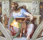 """Michel-Ange, """" Prophète Daniel """" plafond de la Chapelle Sixtine"""