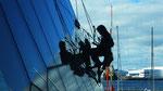 Sur les vitres de la Harpa à Reykjavik