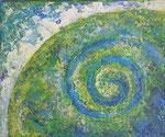 478 PB Blaugrüne Spirale, Acryl/Öl auf Leinwand, 2016, 25 x 30 cm, 100 Euro zzgl. Versand