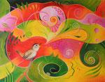 376 Der Vogel hat ein Lied  Öl auf Leinwand 2013 50 x 40 cm, verkauft