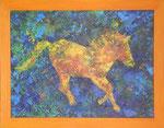 453 PB Gelbes Pferdchen, Acryl auf Hartfaser, 2015, 40 x 30 cm, verkauft