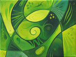 354 Kleines Grünes, Öl auf Leinwand, 2012, 24x18 cm, 60 Euro