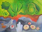 417 Steinahnen und Pflanzengeschwister, Öl auf Leinwand, 2014, 80x60 cm, verkauft