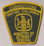 Corrections - British Columbia - Ministry of Attorney General  (Contour jaune / Yellow border)  (Ancien / Obsolete)