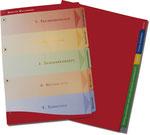 Links: im Offsetverfahren bedrucktes Kartonregister, mit partiell verstärkten Taben und Abheftlöchern. Rechts: im Siebdruckverfahren bedrucktes, farbiges Kunststoffregister