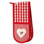 UW019 Red Gingham Rose Double Oven Glove