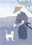 装画練習・池波正太郎「剣客商売12」白い猫から、2013