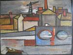 le port de Nantes (huil sur panneau 1955)