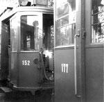 Zwei Trammotorwagen Be 2/2 Nr. 152 und Nr. 177 in der grosszügigen Abstellanlage Eglisee, 1971