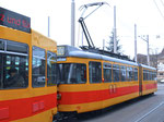 Tramzug der BLT mit dem Motorwagen Nr.112 (Baujahr 1975) der am 4.Januar 2016 nach Belgrad abgegeben wurde am Bahnhof SBB