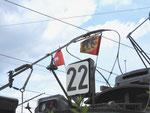 Betriebstag 50 Jahre Tramclub Basel: Das Nummernschild der Linie 22 mit einem Berner-Fähnlein. Juni 2018