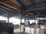 Blick in die riesige Umschlags- und Lagerhalle der Schweizerischen Reederei (später SRN) mit den schnellen Kranbahnen, Oktober 2013