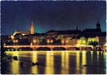 Ansichtskarte, Basel Mittlere Rheinbrücke und Münster bei Nacht, Rowesa-Verlag R.E.Weil Zürich