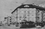 Ein Tramkurs der Linie 1 in der Entenweidstrasse (vor der Verlegung in die Gasstrasse) 1960