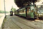 Der Trammotorwagen Be 2/2 Nr. 151 in der grossen Abstellanlage an der Endstation in Kleinhüningen, 1972