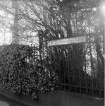 Die Schanzenstrasse beim Spalentor mit dem Wegweiser zum Botanischen Garten, 1958