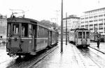 Der Aeschenplatz mit zwei Tramzügen der BVB und der BEB (Birseckbahn), 1969