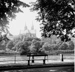 Kleinbasler Rheinufer mit Blick zum Münster, 1960