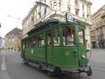 Hundert Jahre Tram nach St.Jakob. Motorwagen Be 2/2 Nr.47 auf der Linie 22 die Haltestelle Marktplatz anfahrend. 2016